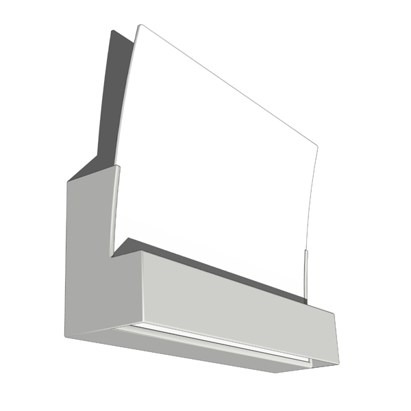Contemporary wall sconce. Painted grey aluminum wi....