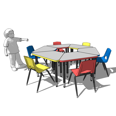 2300 circle children's desks and chairs by Royal S....