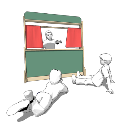 Puppet theatre/store with chalkboard front by Stef....