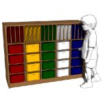 Elementary school storage cubbies by Steffy Wood P...