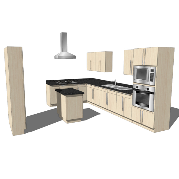 Modern style kitchen with island. Note: Wood textu....