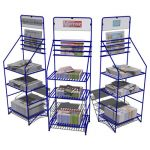 Newspaper racks in 3 configurations. Each configur...