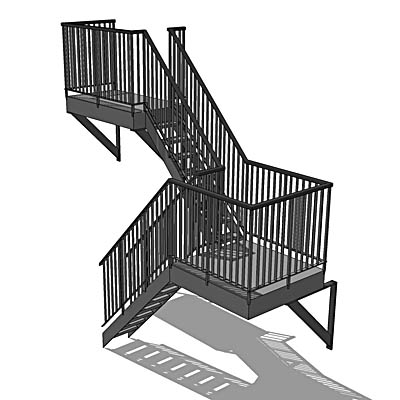 Metal fire escape with counter-balanced lowest fli....