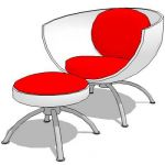 Swivel cup chair with stool or leg rest