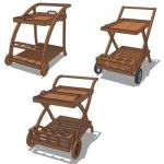 Indonesian teak wood trolley