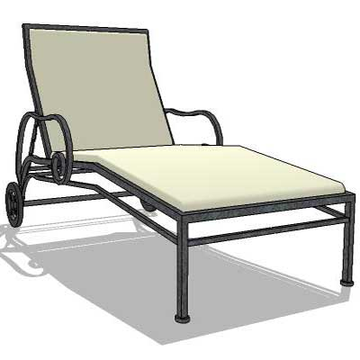 Collection of 3 wrought iron lounger.