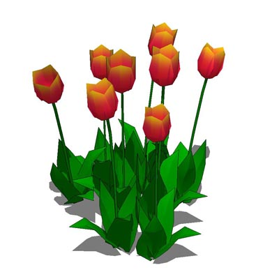 Low poly bunch of tulips.