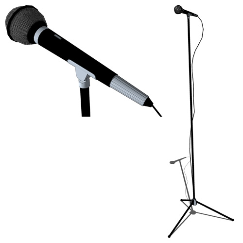 Mic on tripod stand with cord.
