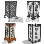 Collection of 4 oriental table lamps