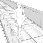 Elevated Transparent pedestrian bridge. Glass floo...