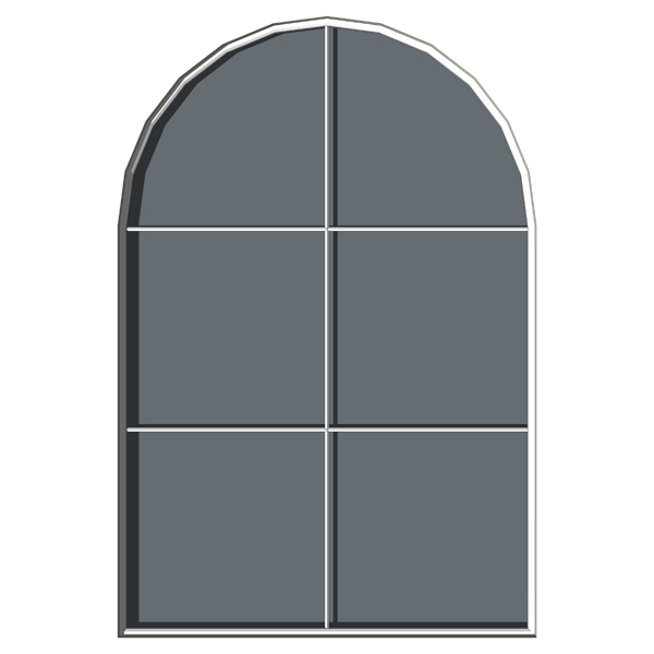 Exterior arched windows in three different configu....