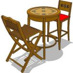 Indonesian teak bar table and chair set