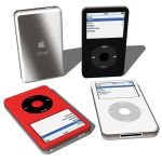 IPod Video by Apple in three different color schem...