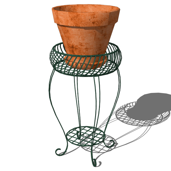 Wrought iron grilled plant stand..