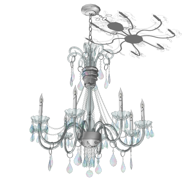 8 arms crystal chandelier. Component has a high po....