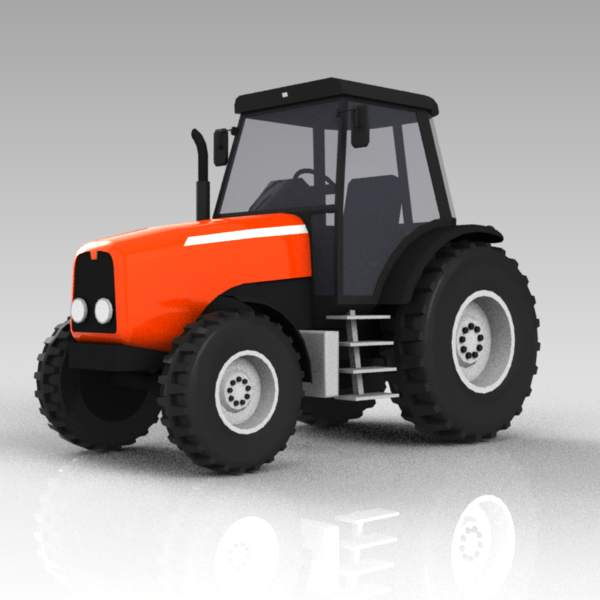 A medium sized farm tractor.
