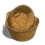 Round display baskets, woven material