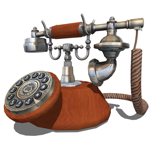 Antique style desk telephone. DWG and 3ds files av....