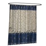 Shower curtain on oval track. Both can be adjusted...