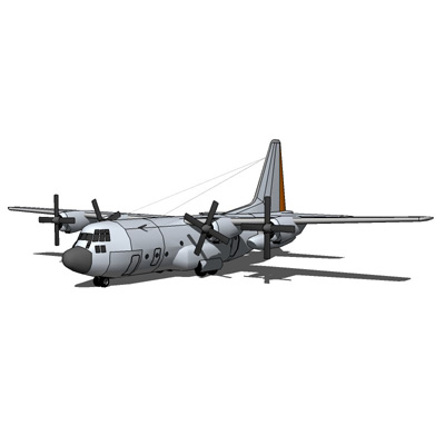 The Lockheed C-130 Hercules is a four-engine turbo....