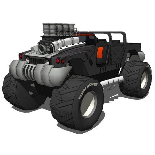 Humvee monster truck in normal version and ''super....