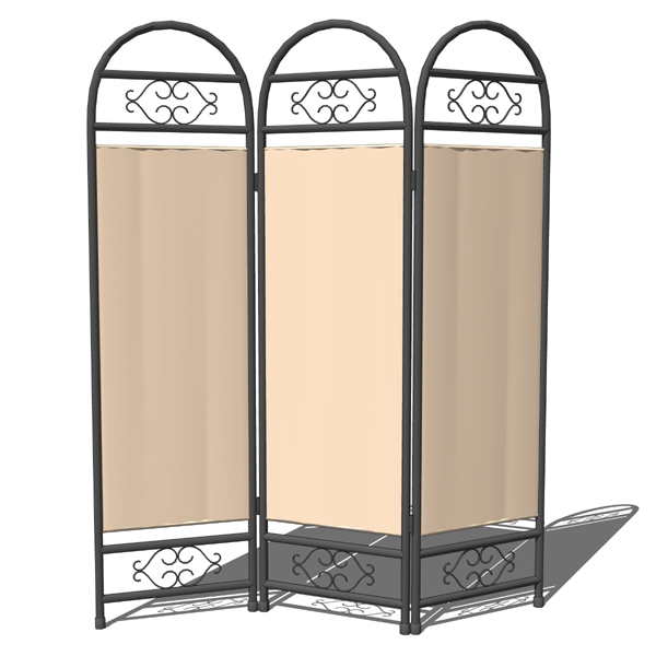 Wrought iron screen. Panels can be rotated..