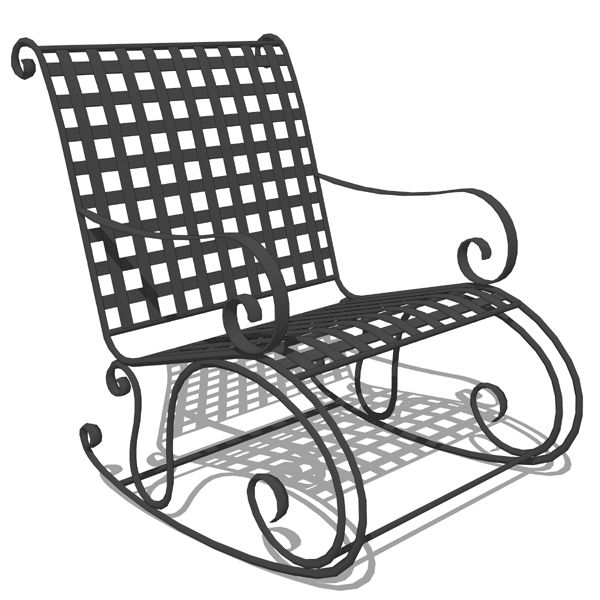 Wrought iron rocking chair..