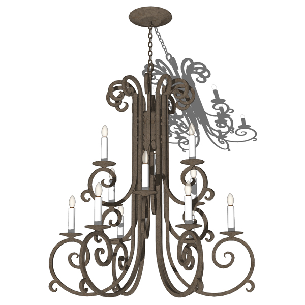 Wrought iron chandelier..
