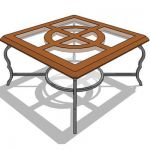 Square teak table with wrought iron leg