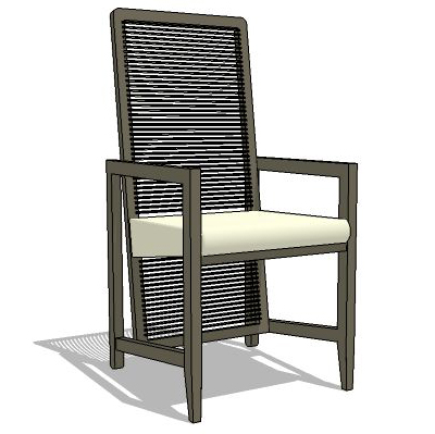 High back dining chair.