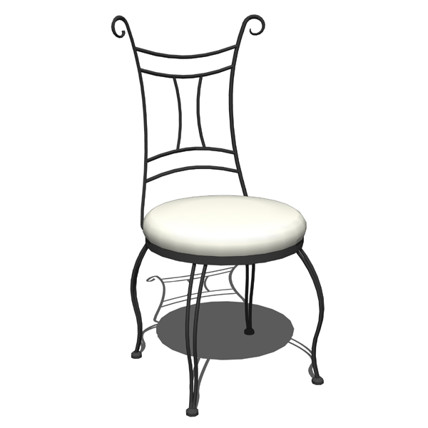 Wrought iron side chair and counter stool by Stone....