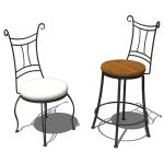 Wrought iron side chair and counter stool by Stone...