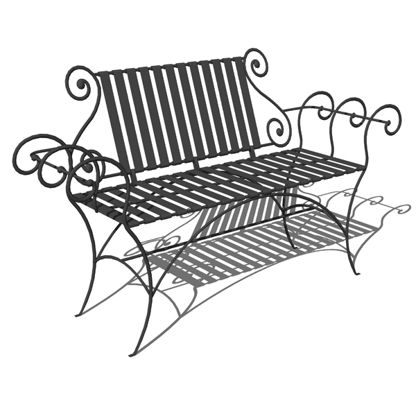 Wrought iron benches by Stone County Ironworks. Pa....