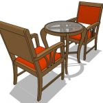 Indonesian teak armchair and table set