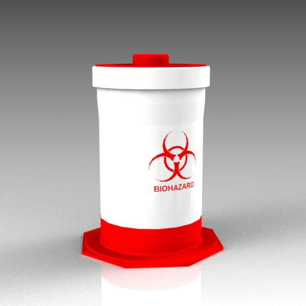 Freestanding biohazard waste container, approx 12&....