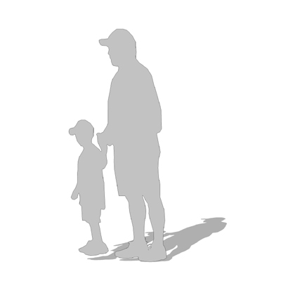 2d cut-out figure of a man and boy - note: outline....