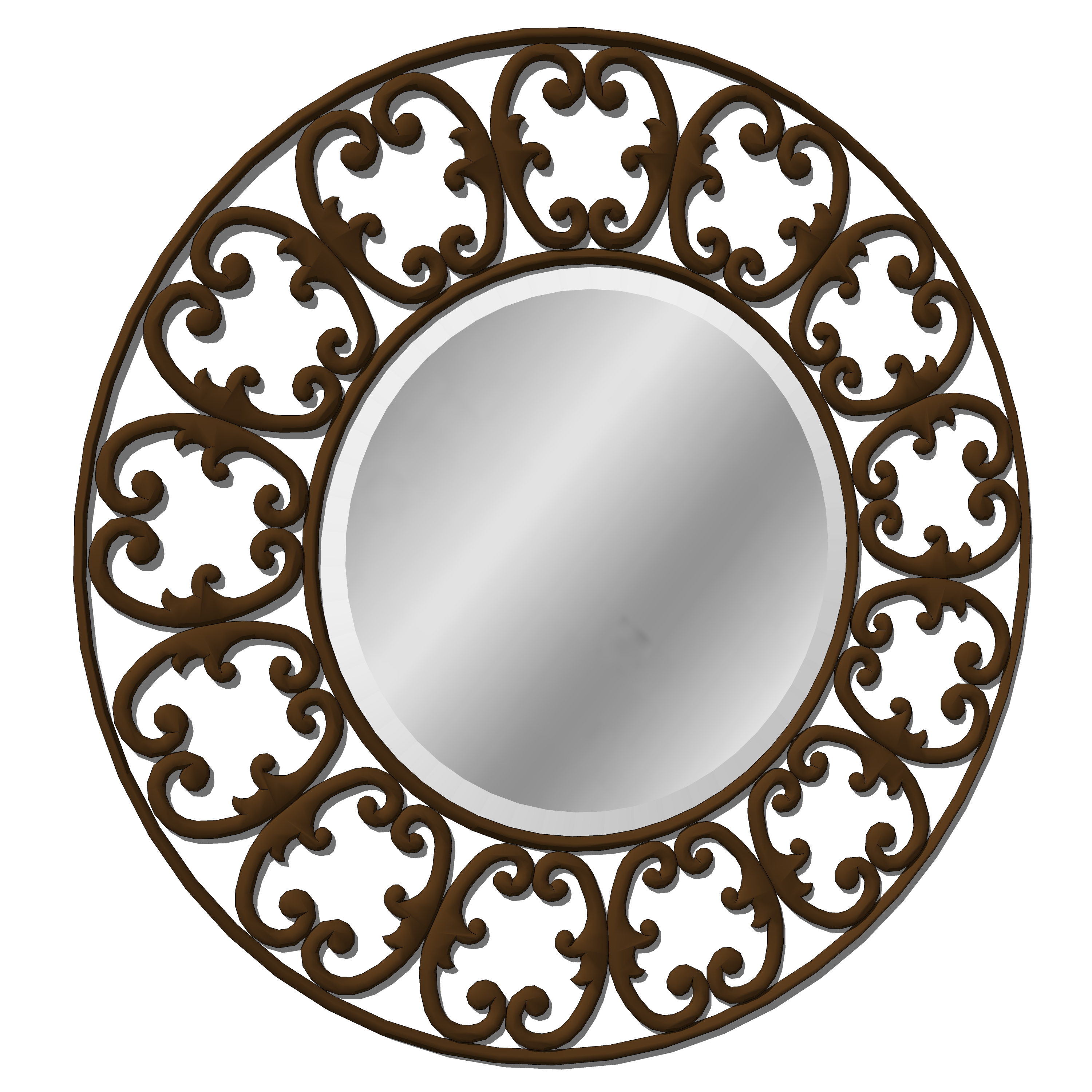 Round scrolled iron mirror with wrought iron side ....