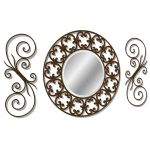 Round scrolled iron mirror with wrought iron side ...