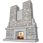 A raging fireplace.