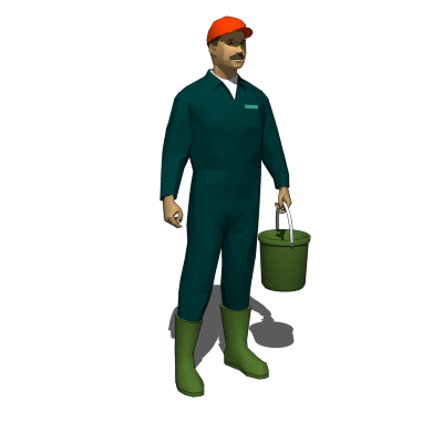 Male Farmer holding a bucket. Could also be used f....