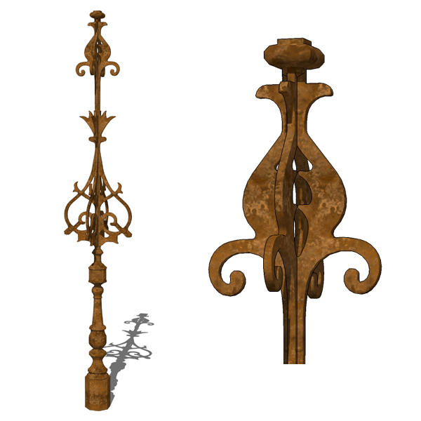 Rustic iron roof finial by CJmetals..