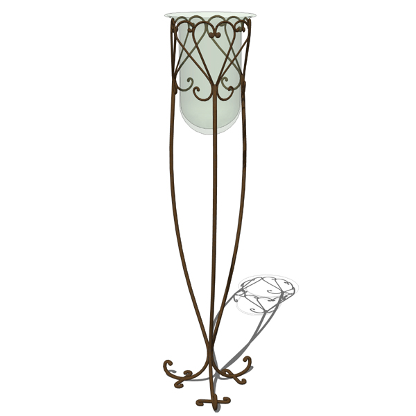 Newport wrought iron scroll vase stand..