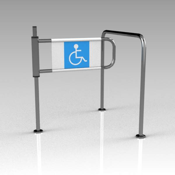 Turnstile for disabled. The rear face shows No Ent....