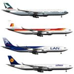 Airbus A340 in 4 color configurations