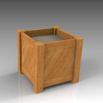 Wooden planter. SketchUp V3 wood texture is horizo....
