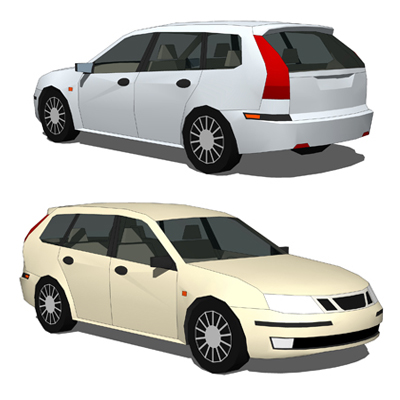 Saab 9-3 Estate Low Poly Version.