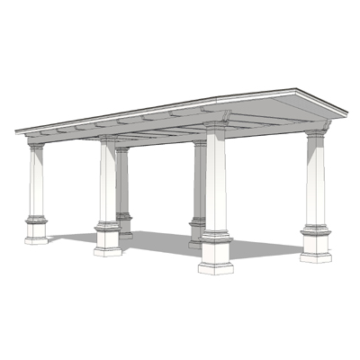 "Entrance canopy with 9'-0"" tall square Doric ...."