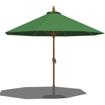 Large standard cafe/patio umbrella with base..