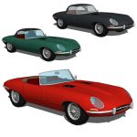 Jaguar E Type convertible in three configurations