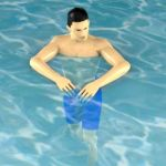 Man swimming; reduced polys from chest down.
